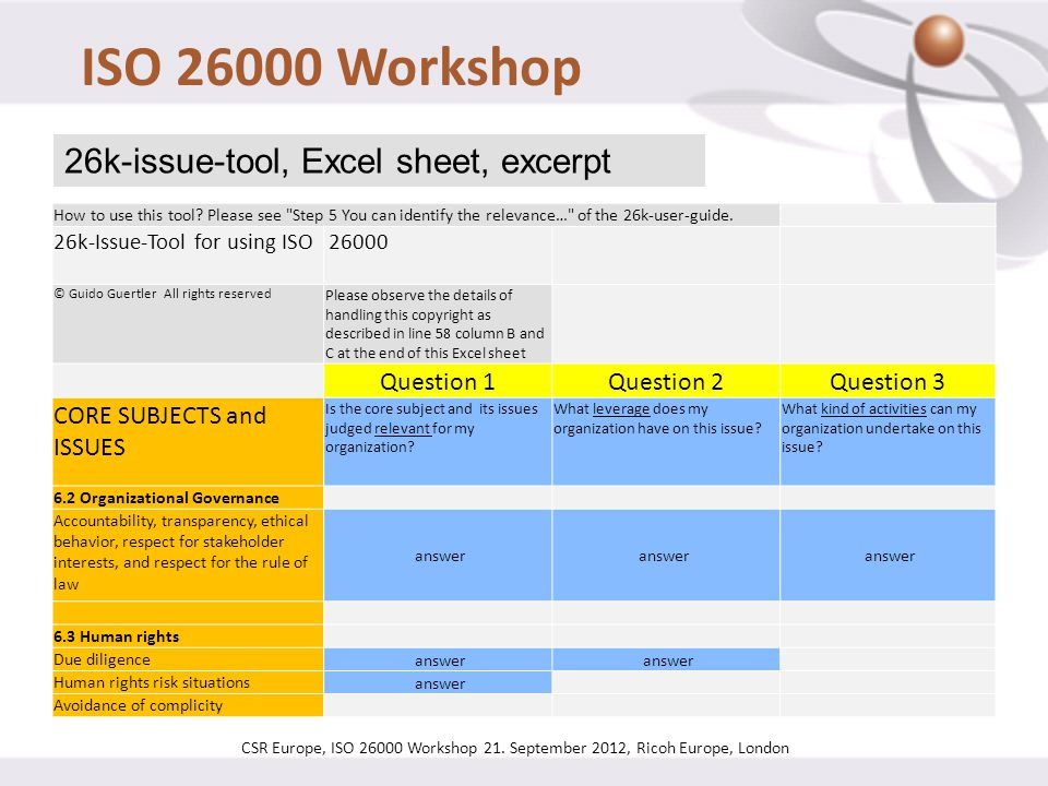 ISO 26000 Workshop 26k-issue-tool, Excel sheet, excerpt Question 1