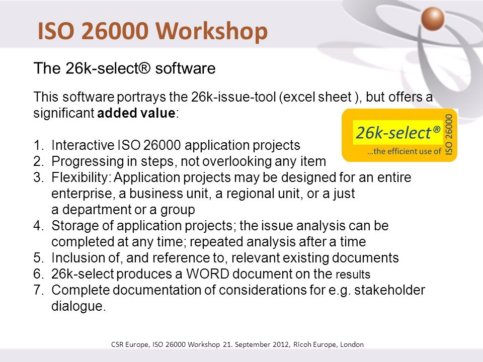 ISO 26000 Workshop The 26k-select® software