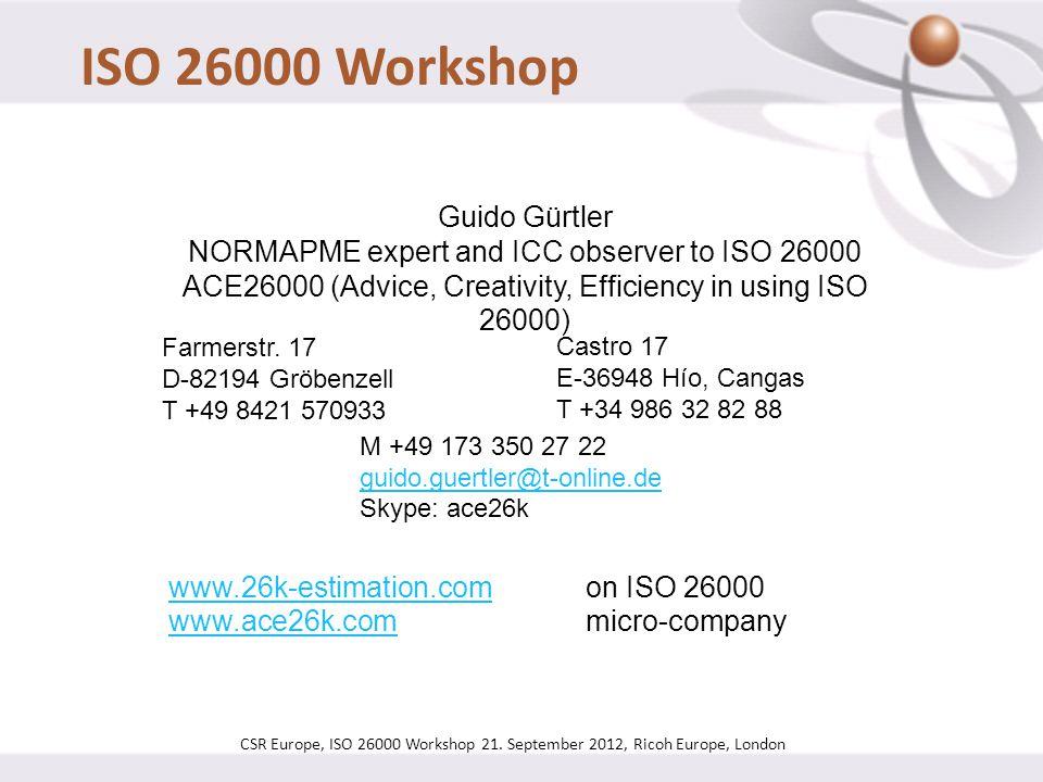 ISO 26000 Workshop Guido Gürtler