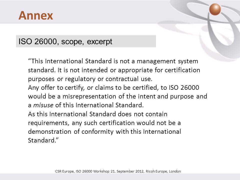 Annex ISO 26000, scope, excerpt