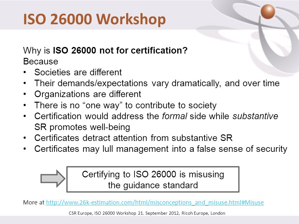 Certifying to ISO 26000 is misusing the guidance standard