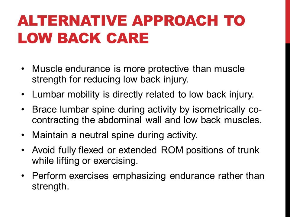 Alternative Approach to Low Back Care