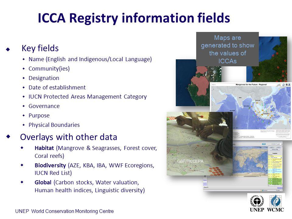 ICCA Registry information fields