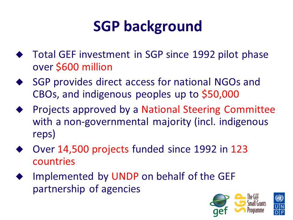 SGP background Total GEF investment in SGP since 1992 pilot phase over $600 million.