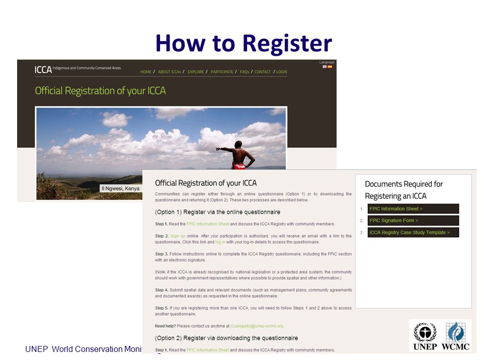 How to Register UNEP World Conservation Monitoring Centre