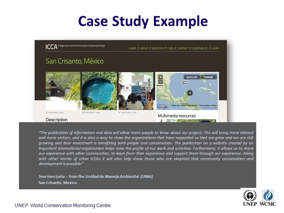 Case Study Example UNEP World Conservation Monitoring Centre
