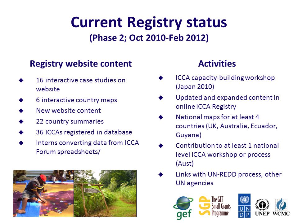 Current Registry status (Phase 2; Oct 2010-Feb 2012)