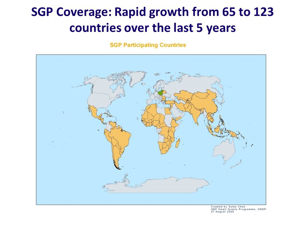 SGP Coverage: Rapid growth from 65 to 123 countries over the last 5 years