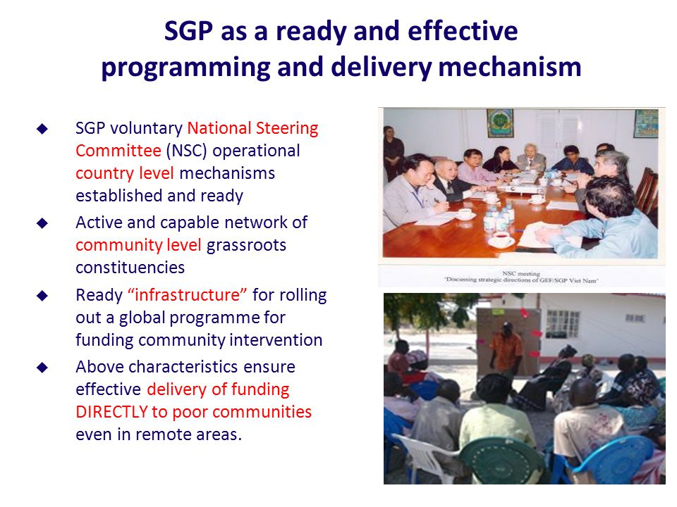 SGP as a ready and effective programming and delivery mechanism