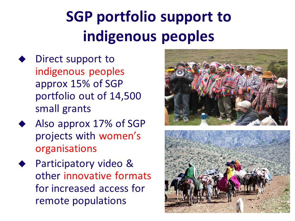 SGP portfolio support to indigenous peoples