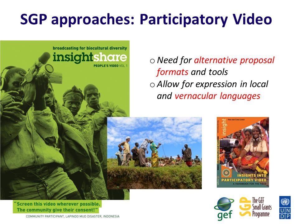 SGP approaches: Participatory Video
