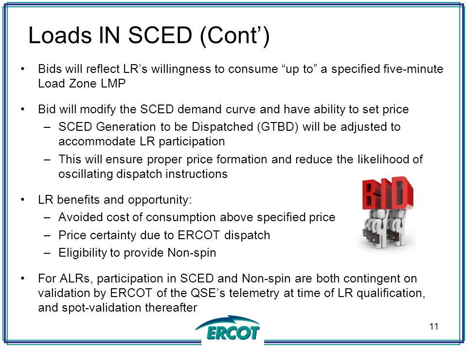 Loads IN SCED (Cont') Bids will reflect LR's willingness to consume up to a specified five-minute Load Zone LMP.