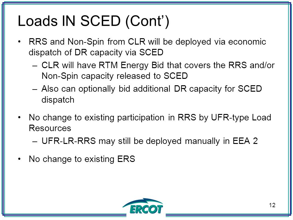 Loads IN SCED (Cont') RRS and Non-Spin from CLR will be deployed via economic dispatch of DR capacity via SCED.