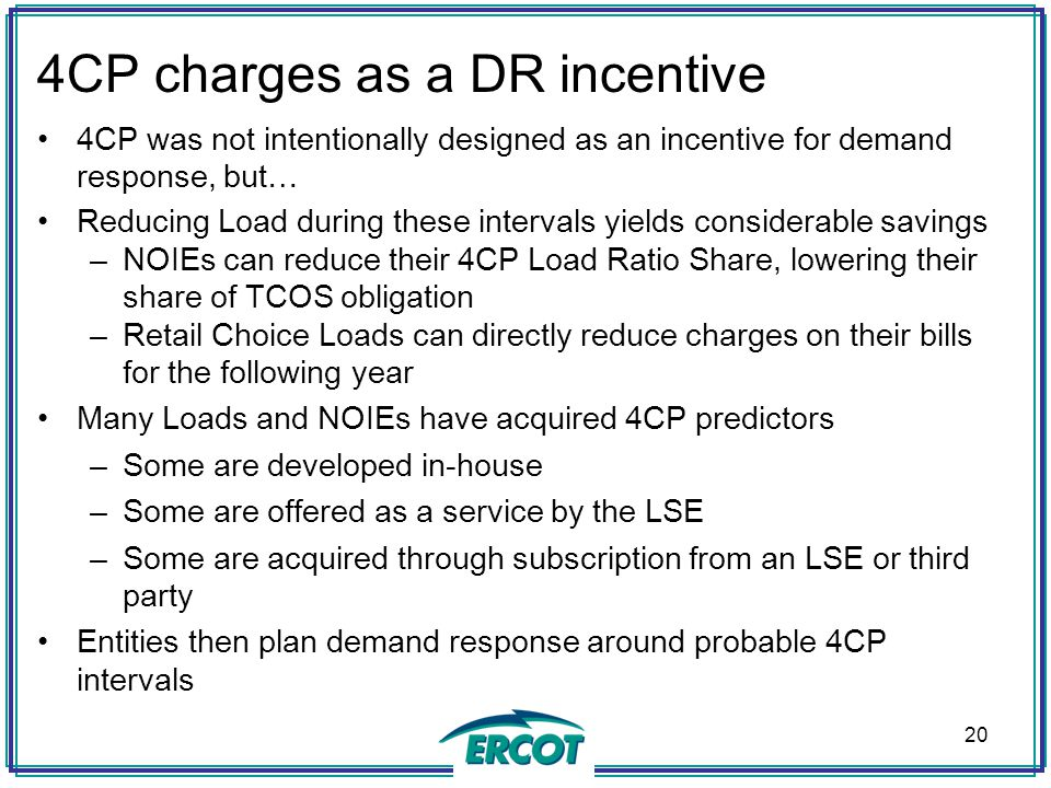 4CP charges as a DR incentive