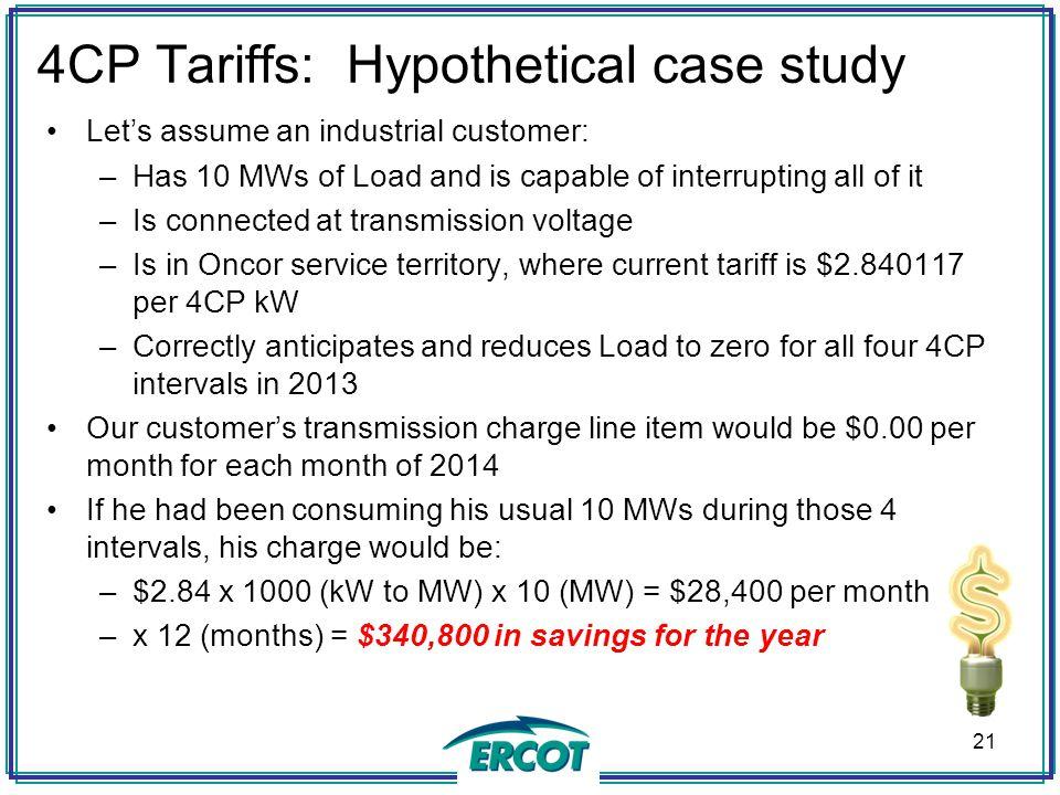4CP Tariffs: Hypothetical case study