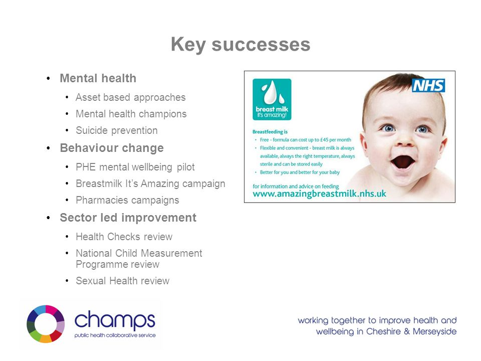 Key successes Mental health Behaviour change Sector led improvement