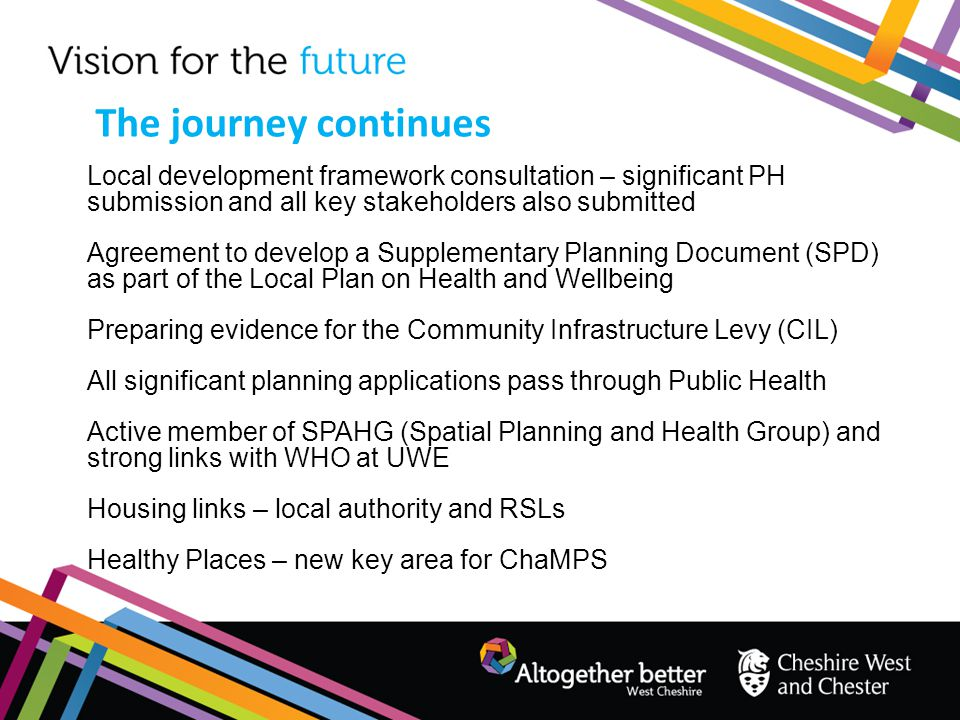 The journey continues Local development framework consultation – significant PH submission and all key stakeholders also submitted.