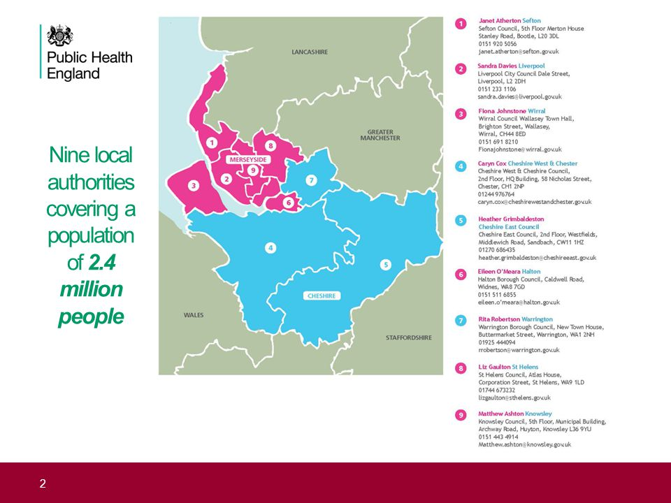 Nine local authorities covering a population of 2.4 million people