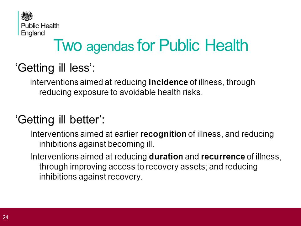 Two agendas for Public Health