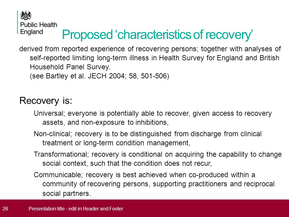 Proposed 'characteristics of recovery'