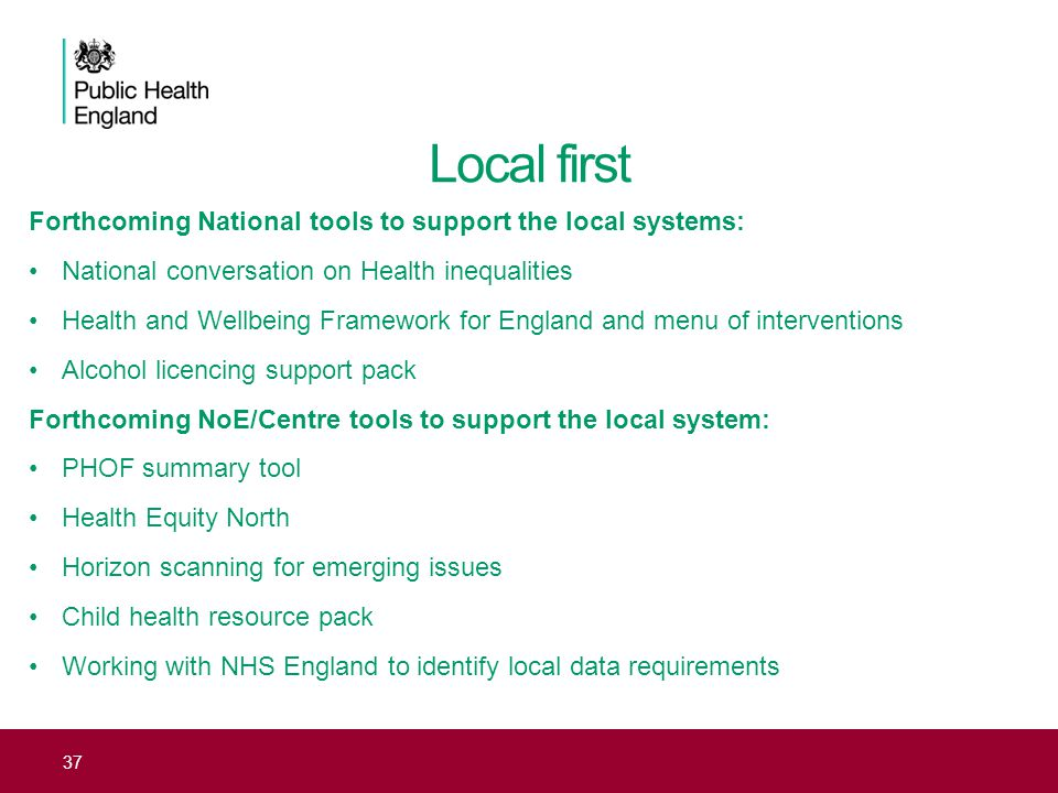 Local first Forthcoming National tools to support the local systems: