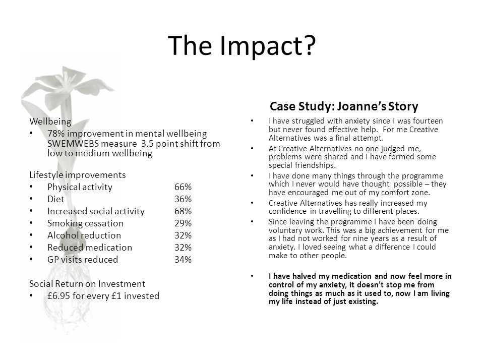 The Impact The Data Case Study: Joanne's Story Wellbeing