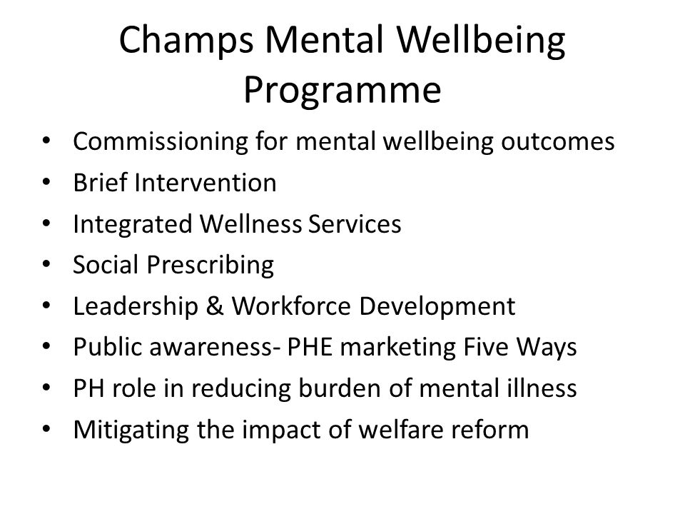 Champs Mental Wellbeing Programme