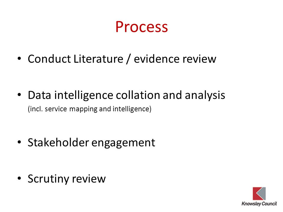 Process Conduct Literature / evidence review
