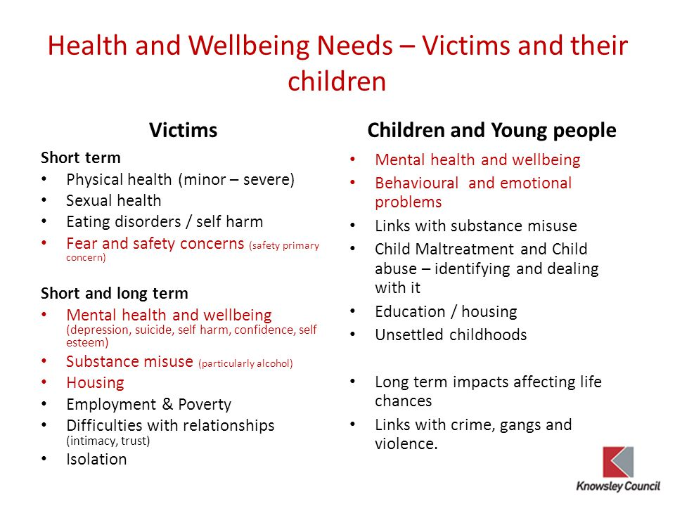Health and Wellbeing Needs – Victims and their children