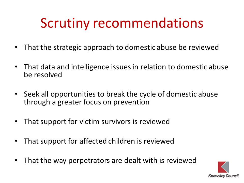 Scrutiny recommendations