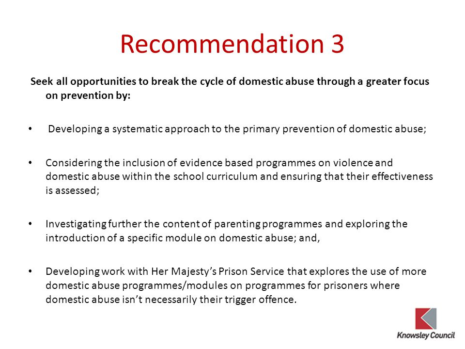 Recommendation 3 Seek all opportunities to break the cycle of domestic abuse through a greater focus on prevention by: