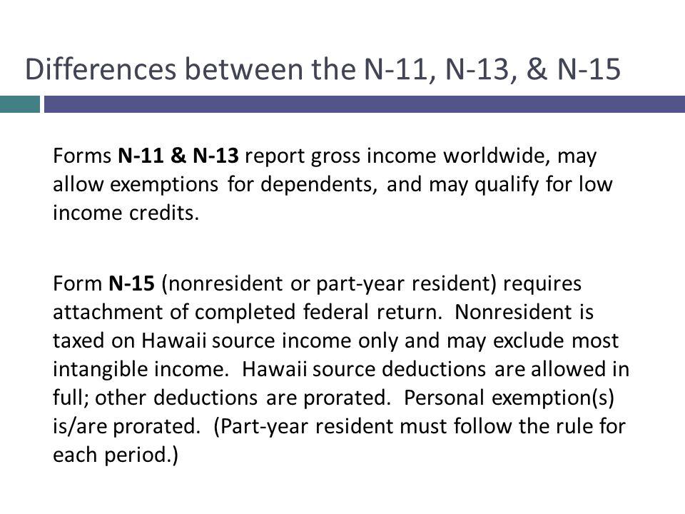 Differences between the N-11, N-13, & N-15