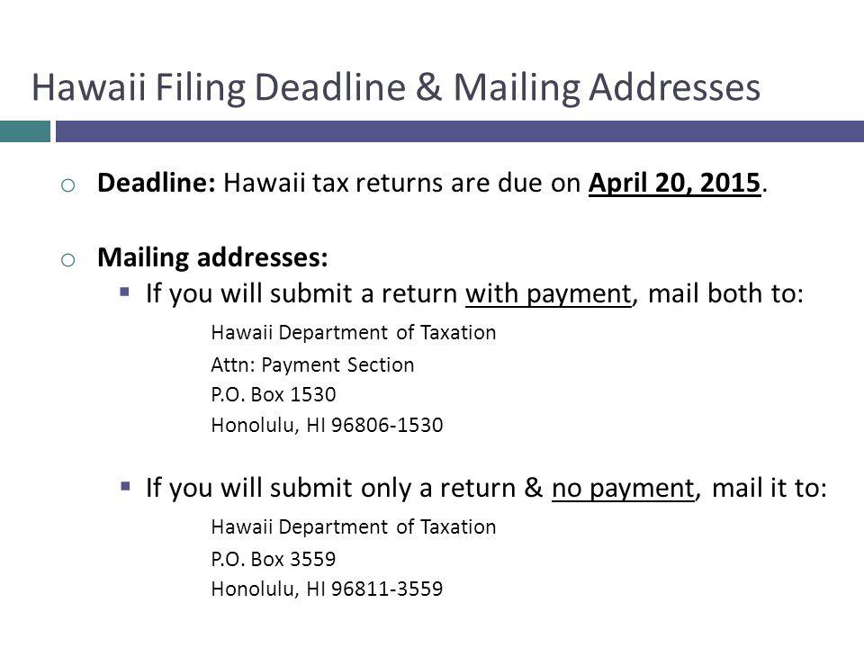 Hawaii Filing Deadline & Mailing Addresses