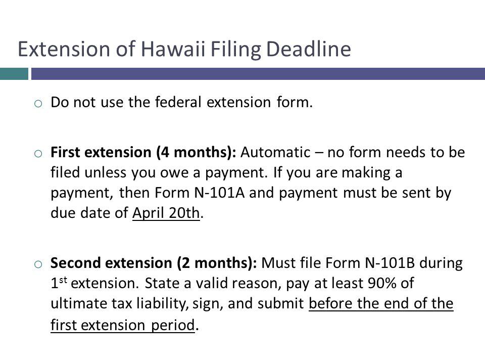 Extension of Hawaii Filing Deadline