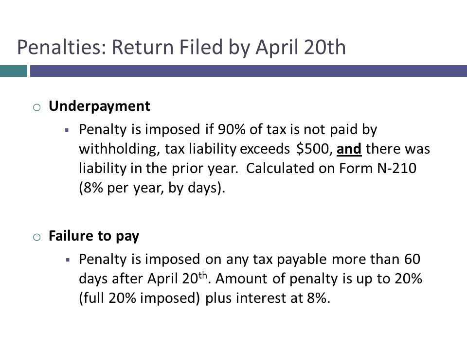 Penalties: Return Filed by April 20th