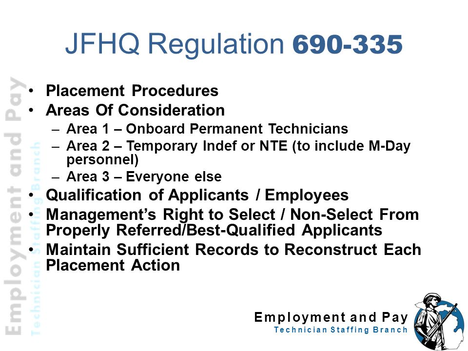 JFHQ Regulation 690-335 Placement Procedures Areas Of Consideration