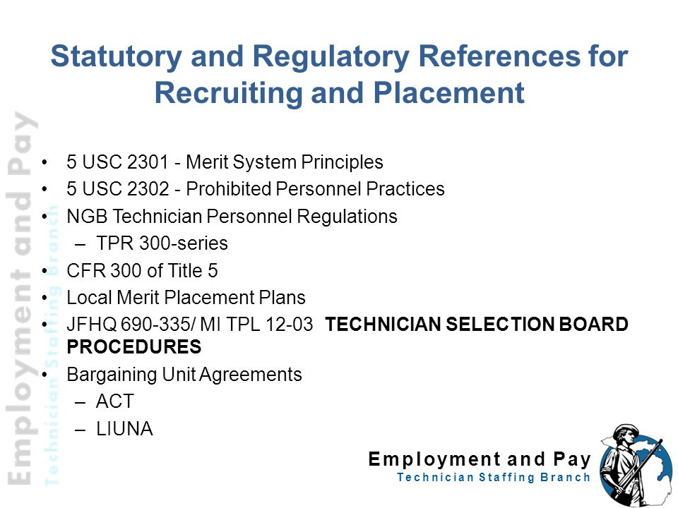 Statutory and Regulatory References for Recruiting and Placement