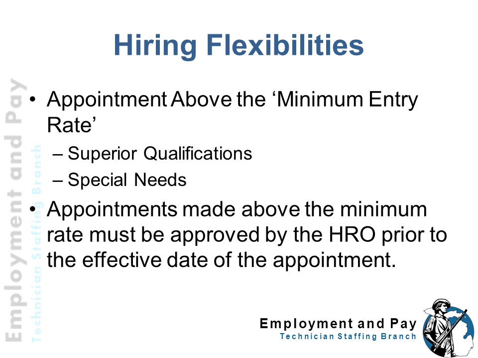 Hiring Flexibilities Appointment Above the 'Minimum Entry Rate'