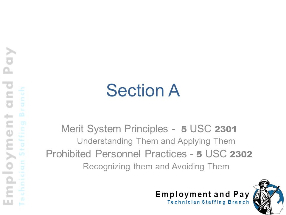Section A Merit System Principles - 5 USC 2301