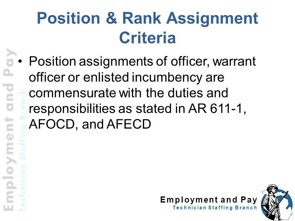 Position & Rank Assignment Criteria