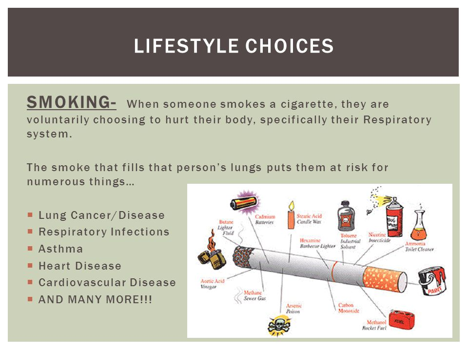 Lifestyle choices SMOKING- When someone smokes a cigarette, they are voluntarily choosing to hurt their body, specifically their Respiratory system.
