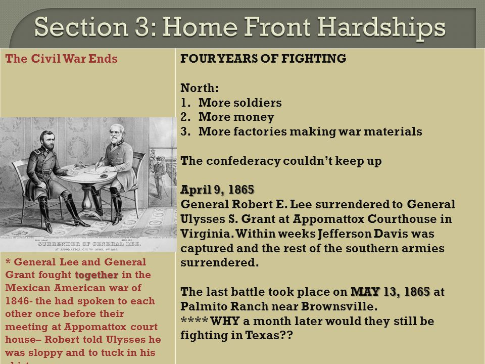 Section 3: Home Front Hardships