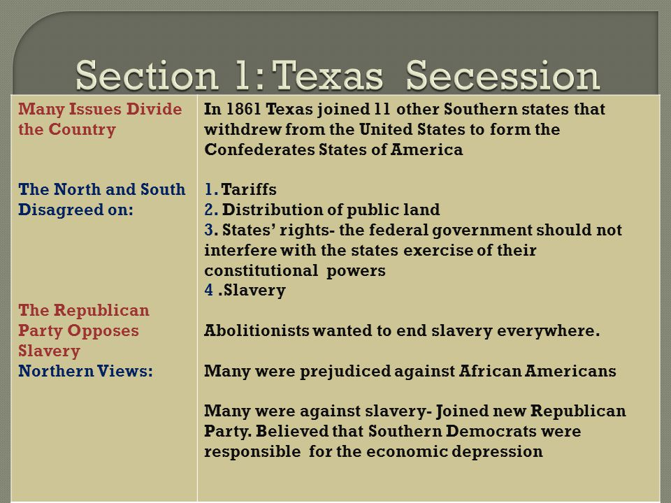 Section 1: Texas Secession