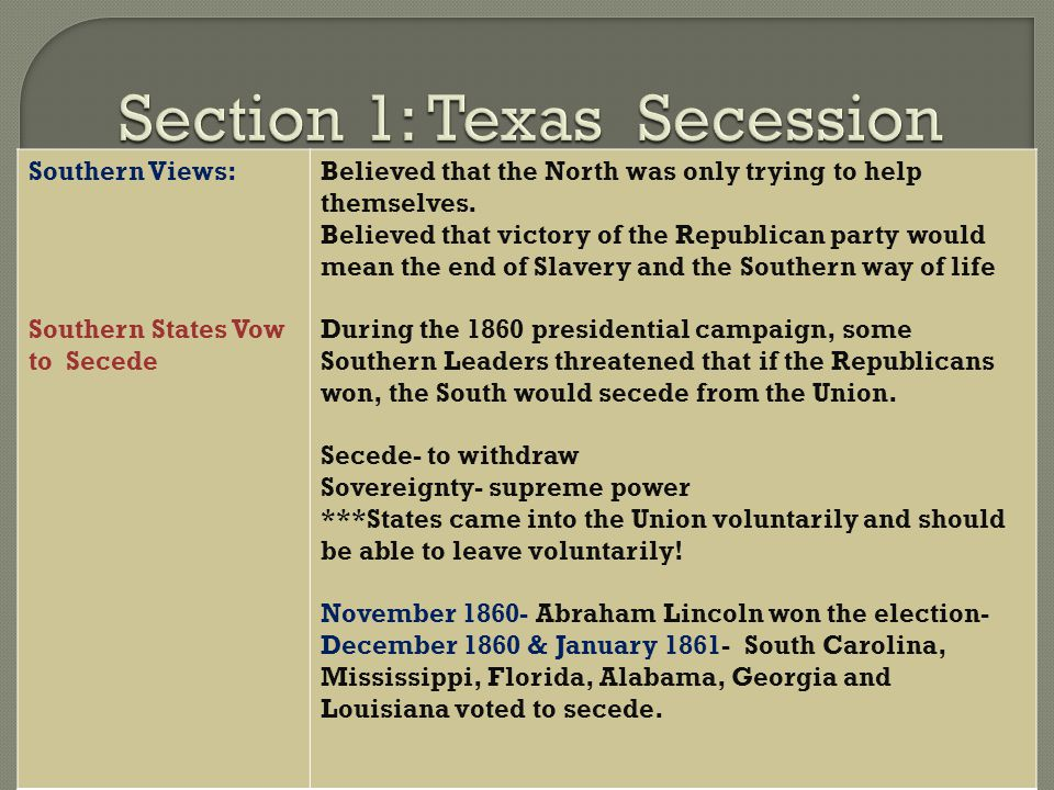 South's secession from the Union and the reasons for the Civil War Essay Sample