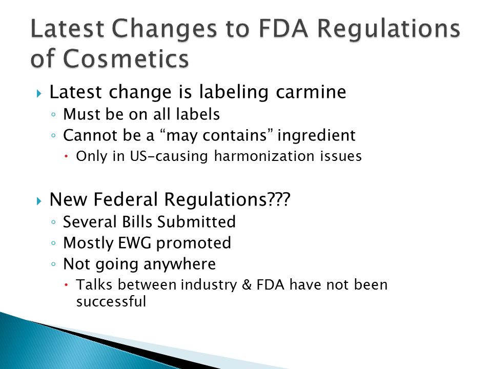Latest Changes to FDA Regulations of Cosmetics