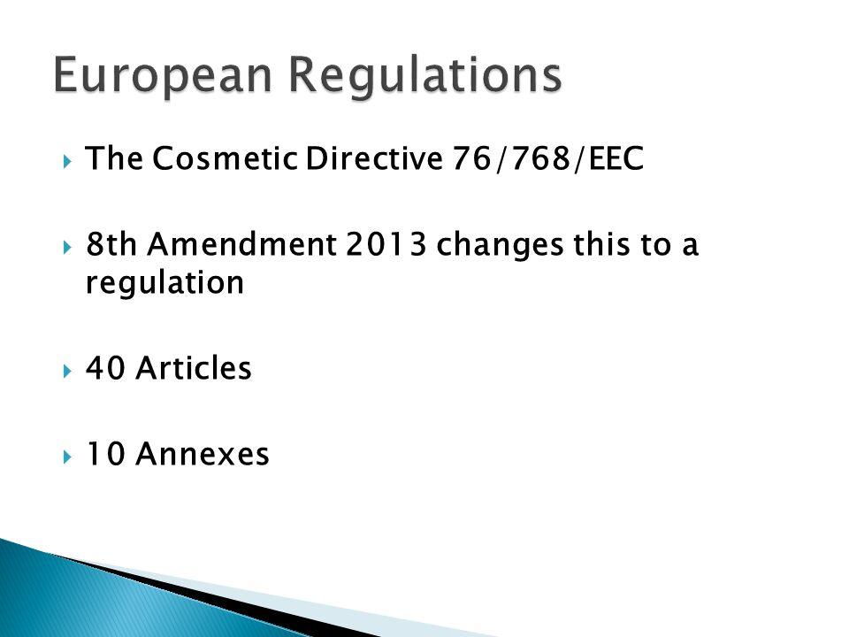 European Regulations The Cosmetic Directive 76/768/EEC