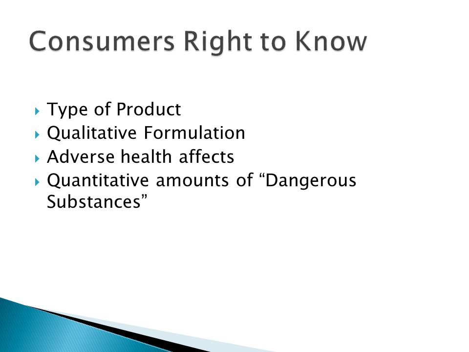 Consumers Right to Know