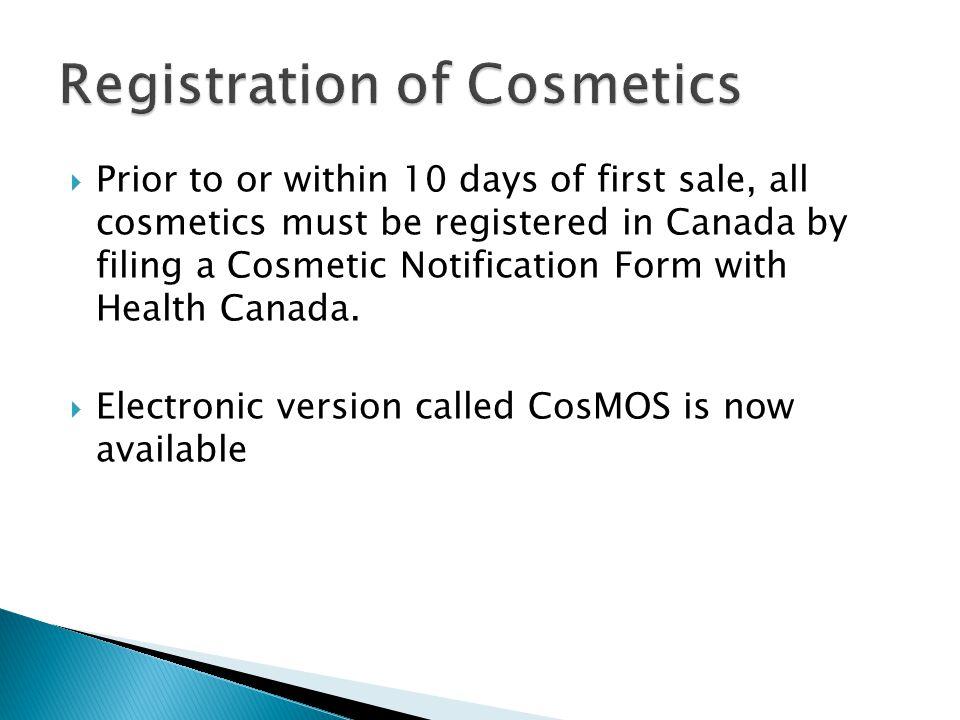 Registration of Cosmetics