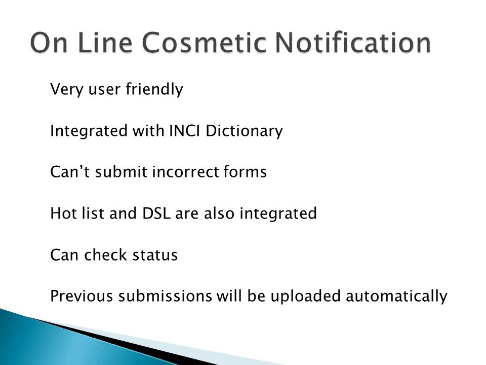 On Line Cosmetic Notification