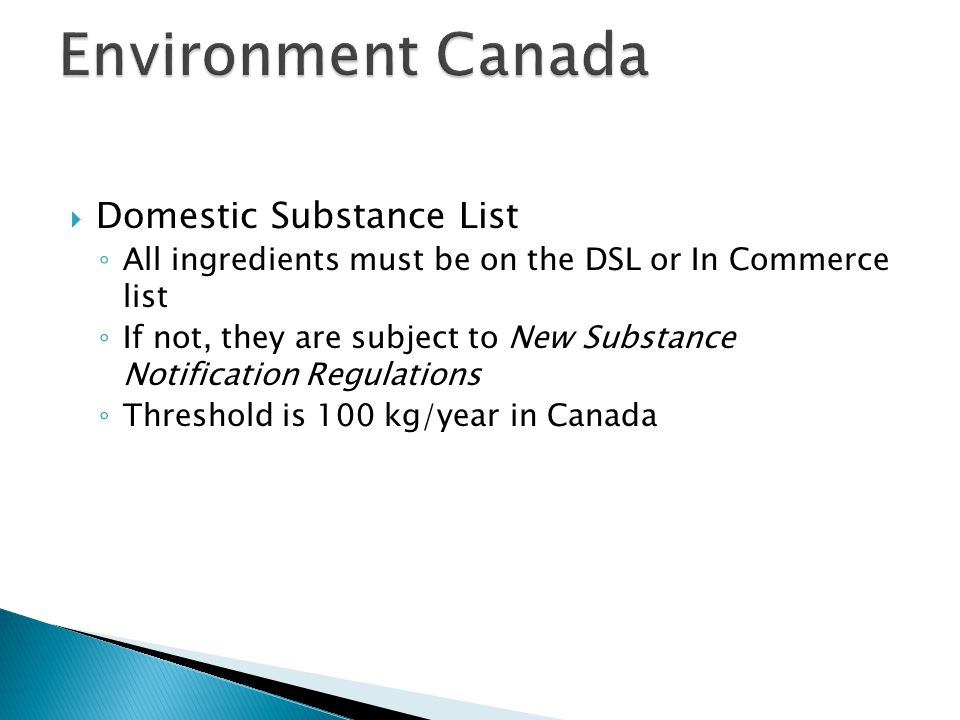 Environment Canada Domestic Substance List